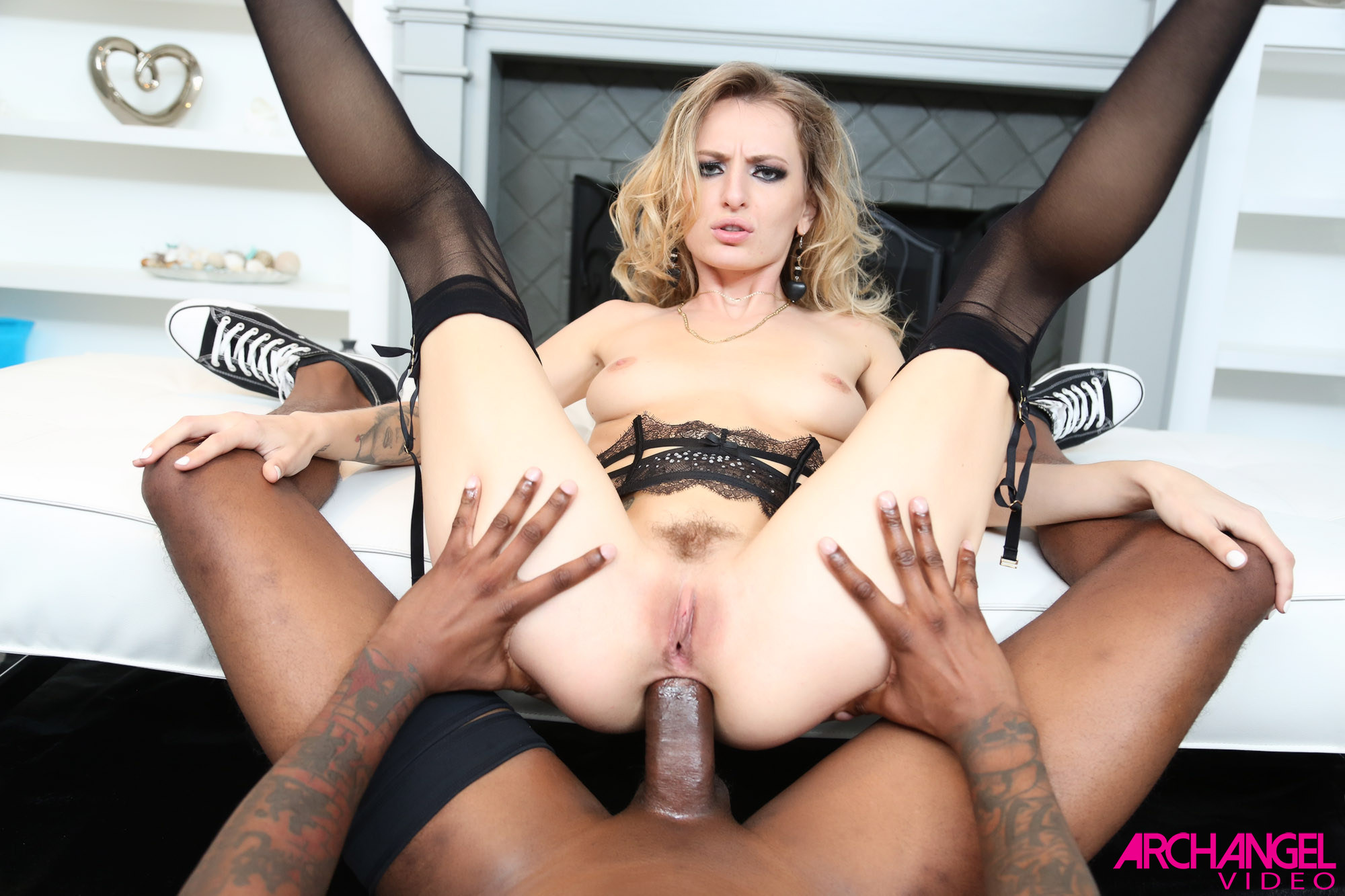Group of blondes gangbang guy with strapons 7