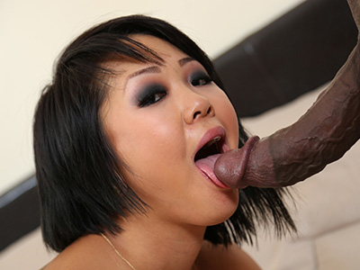 Interracial action hard black cock fucks squirting asian